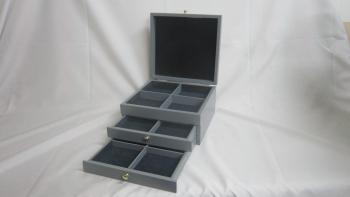 Three layer jewelry wooden box
