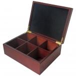 6 count tea box with velvet inside of lid